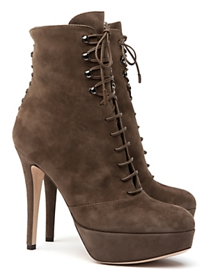 Gianvito Rossi Platform Suede Lace Up Bootie $1,125